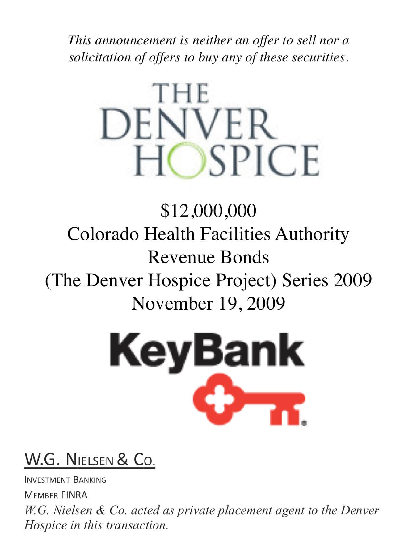 denver hospice investment banking transaction
