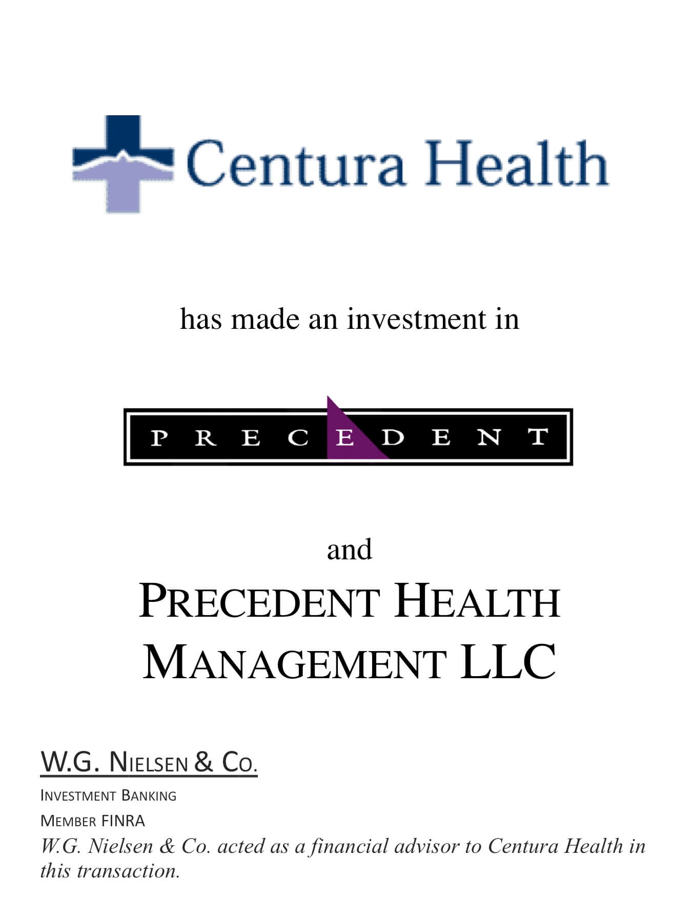 centura health investment banking transaction