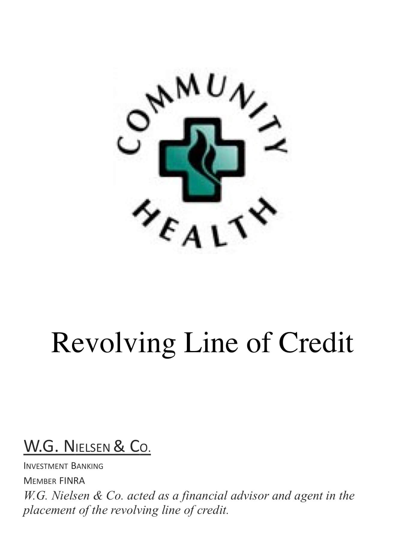 community health investment banking transaction