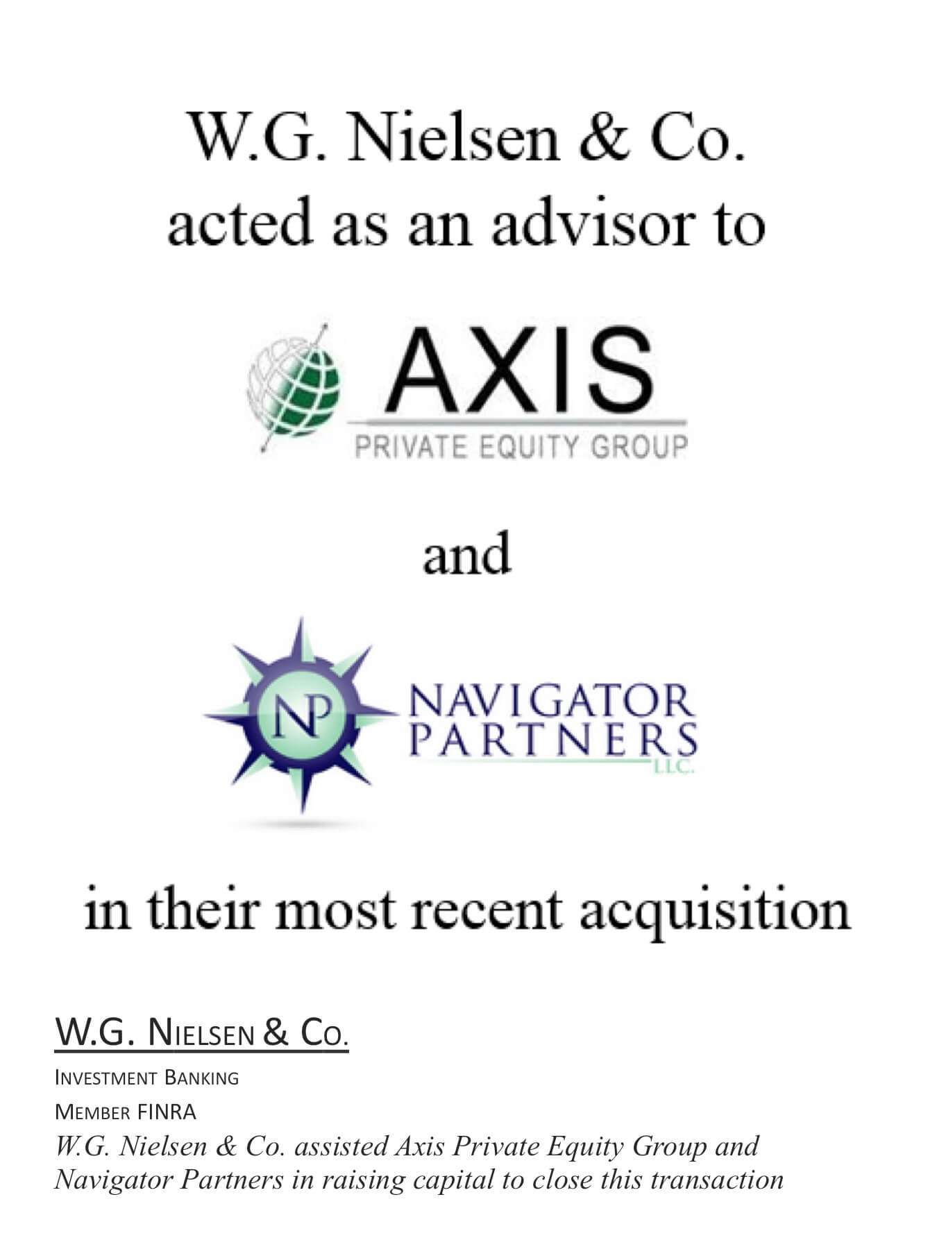 axis investment banking transaction