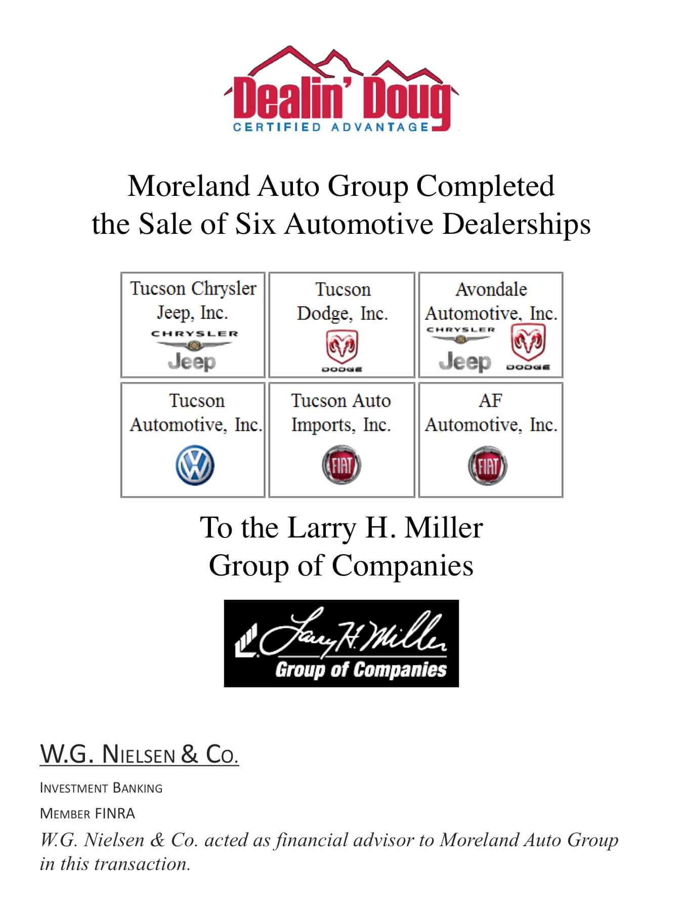 moreland auto group investment banking transaction