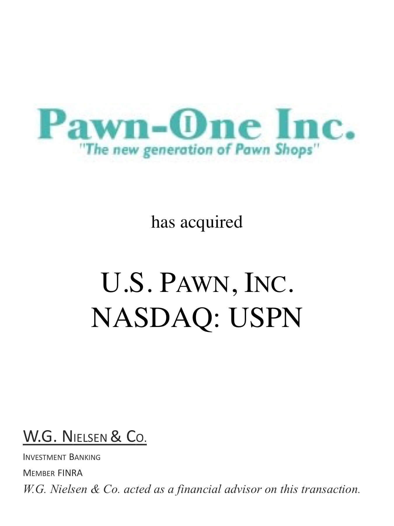 pawn-one investment banking transaction