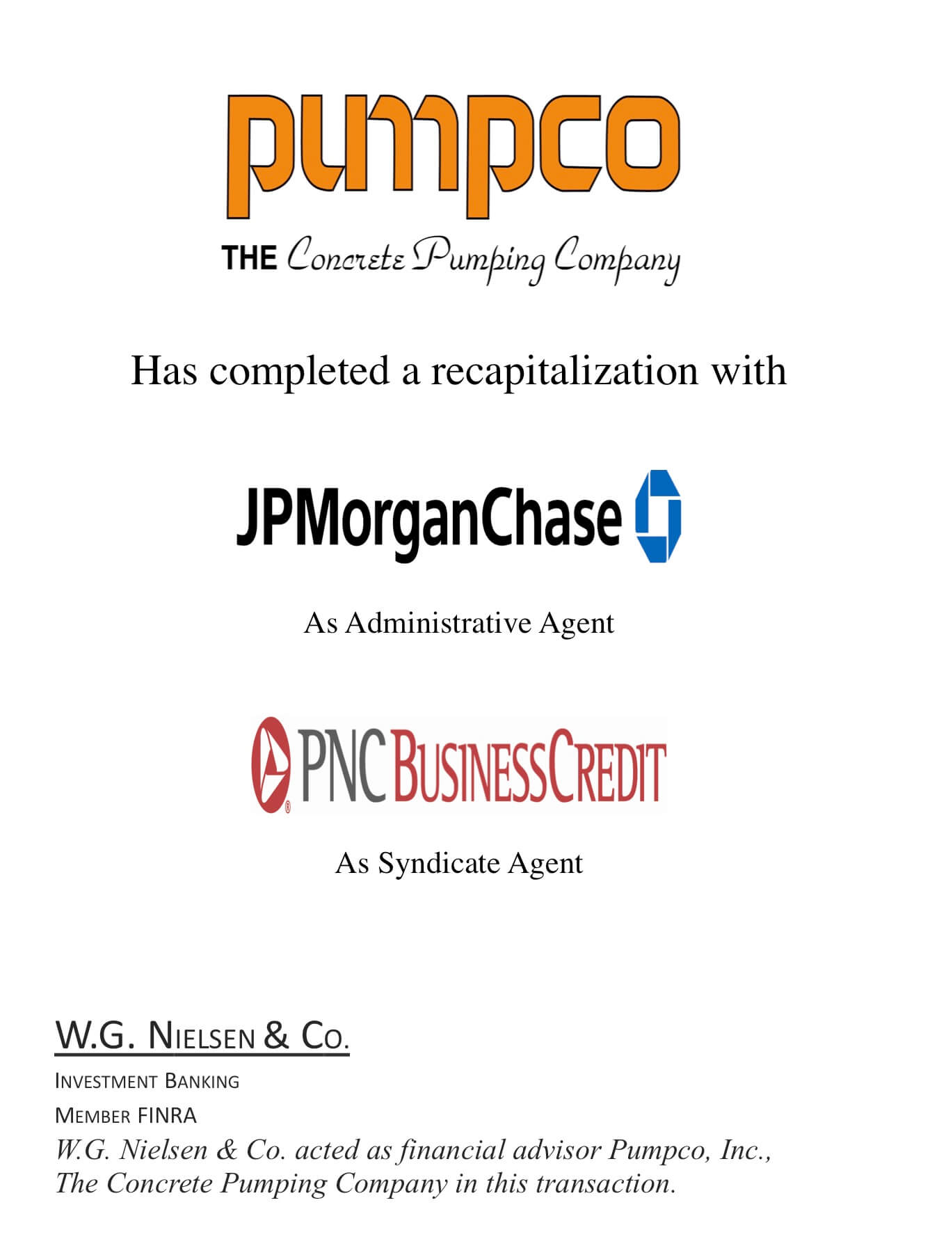 pumpco investment banking transaction