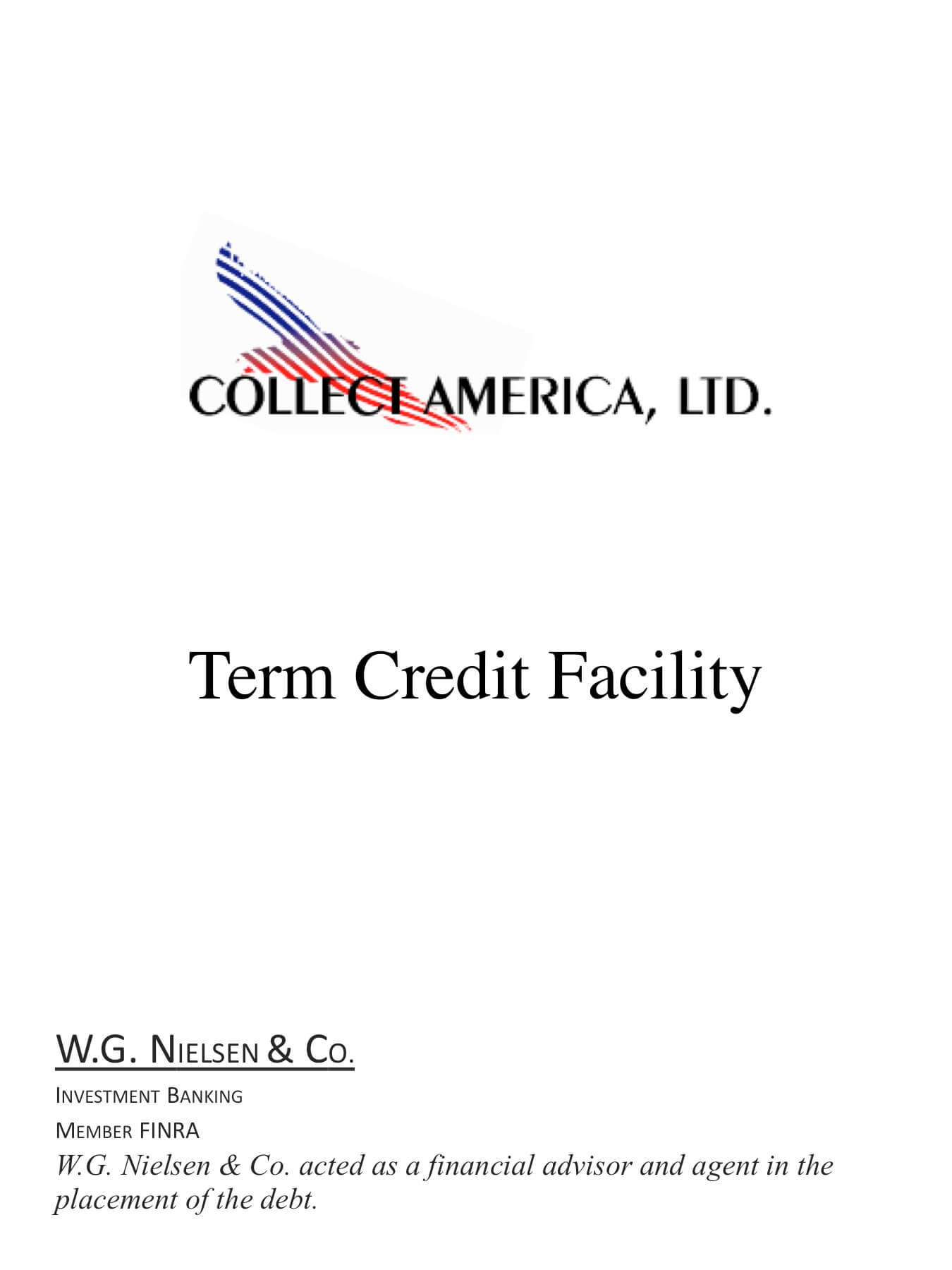 collect america investment banking transaction