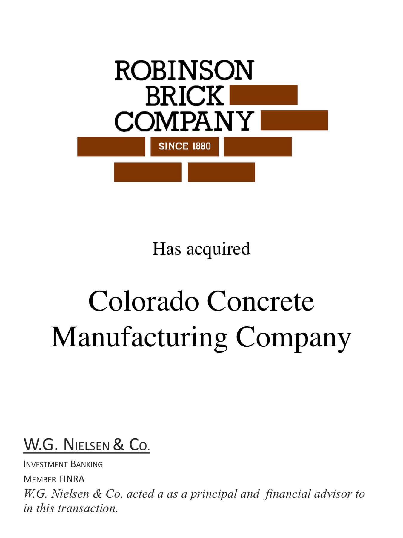 robinson brick company investment banking transaction