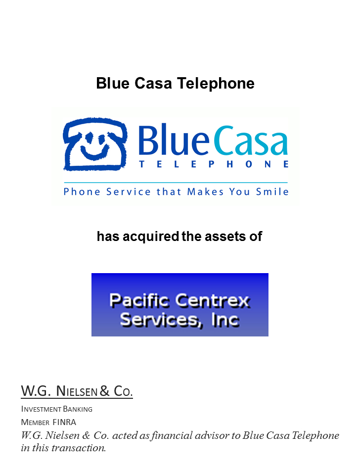 blue casa telephone investment banking transaction