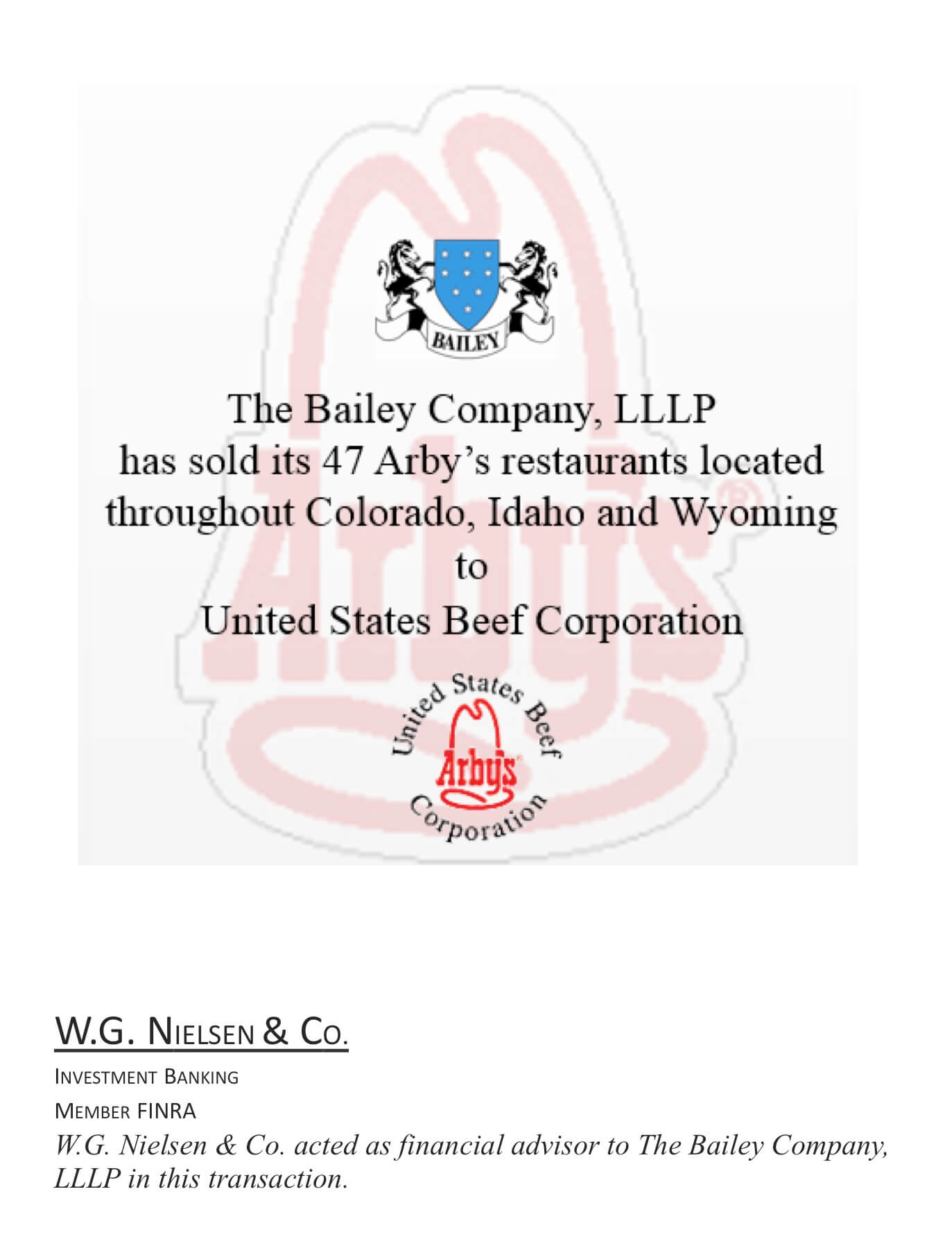 bailey company investment banking transaction