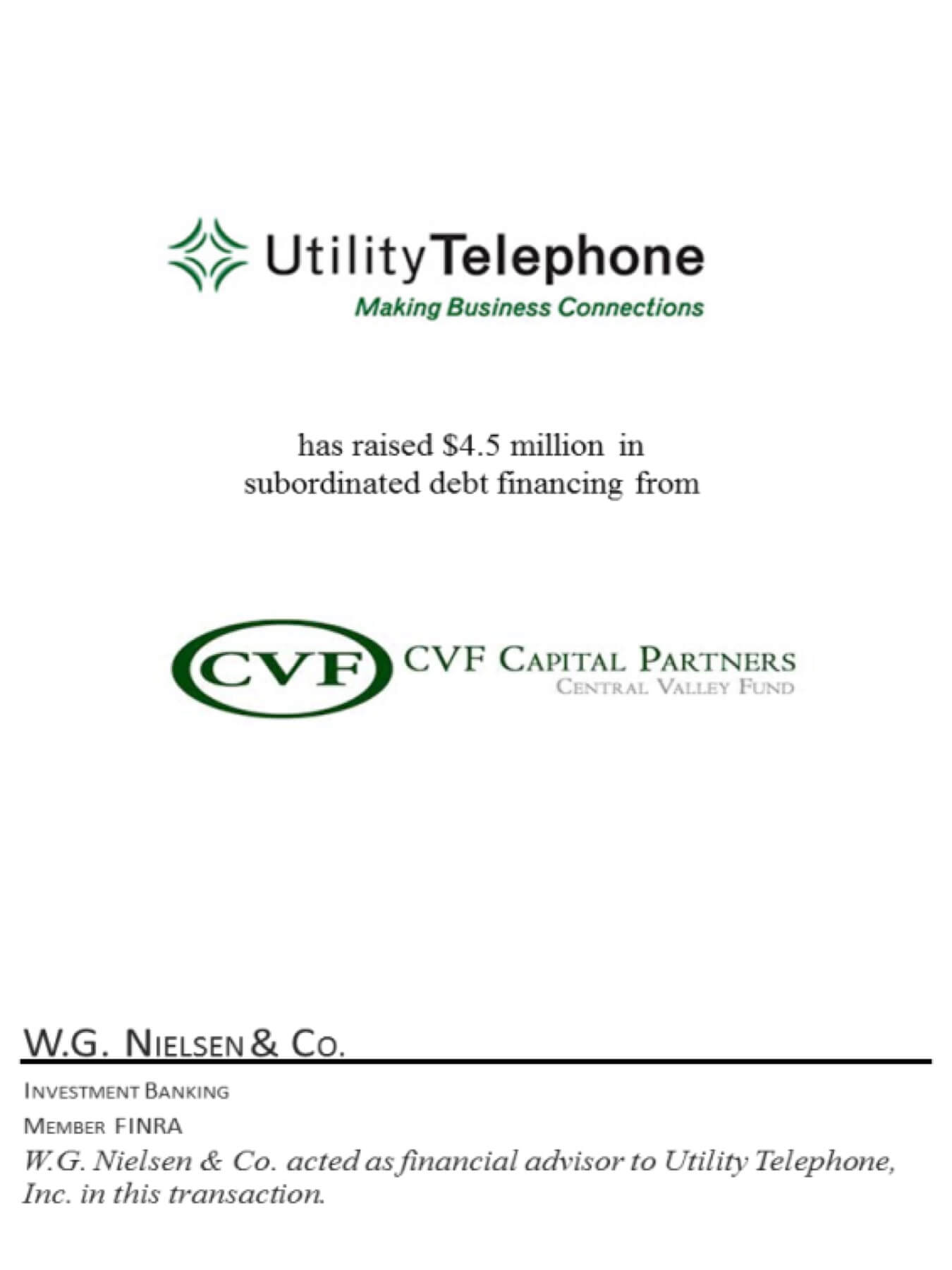 utility telephone 2 investment banking transaction
