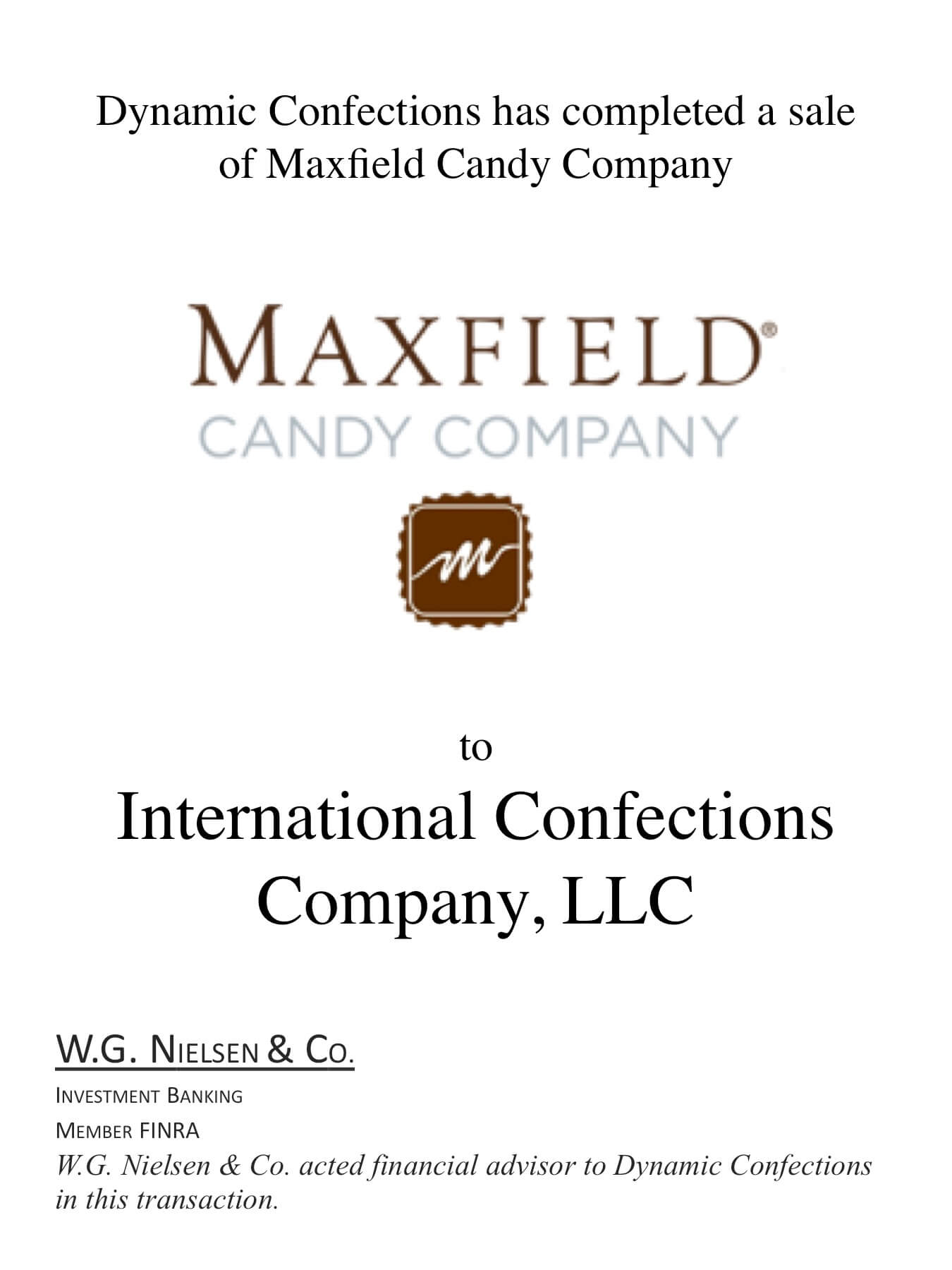 maxfield candy company investment banking transaction