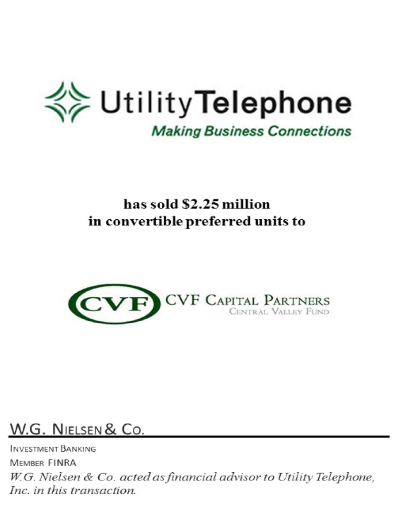 utility telephone 3 investment banking transaction