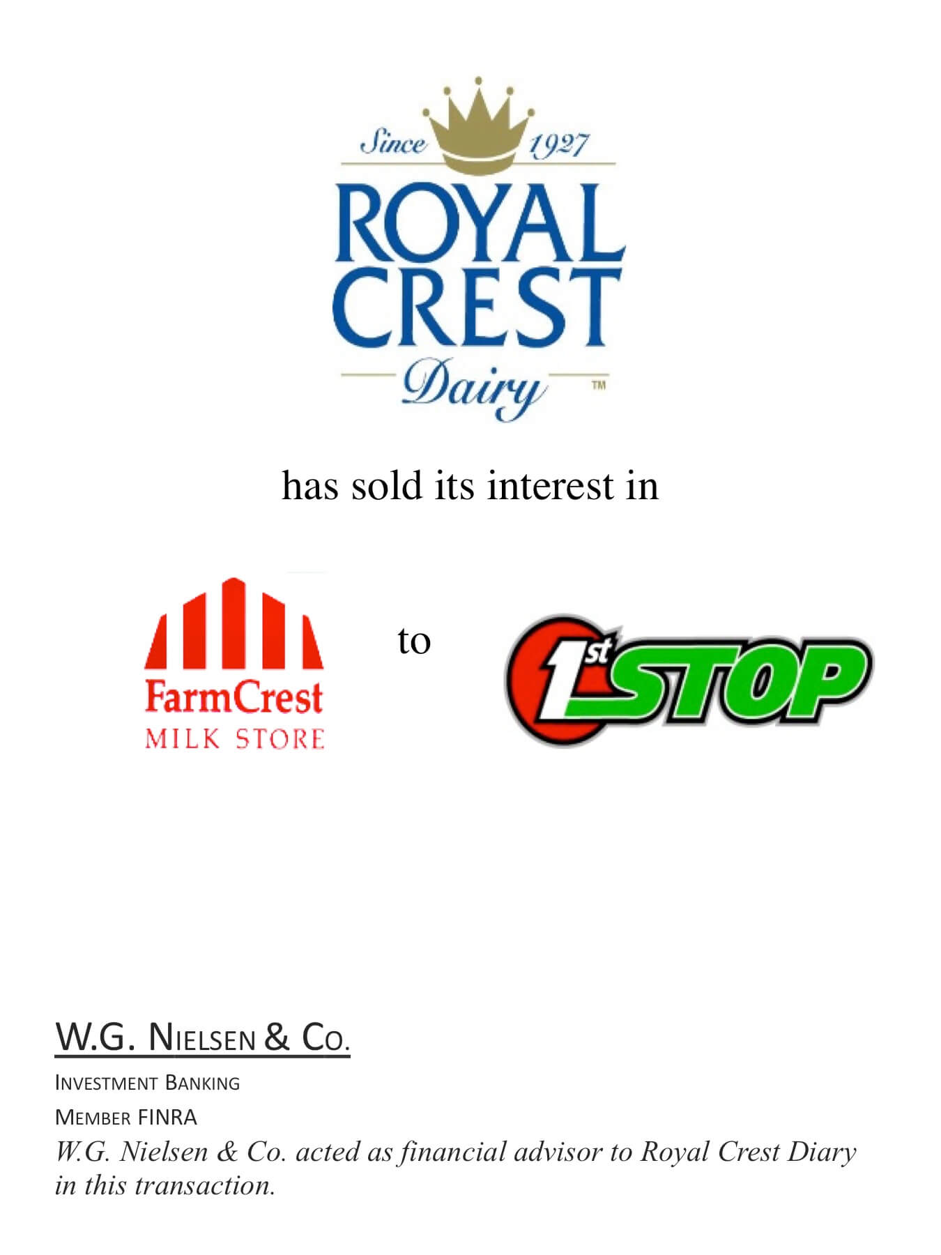 royal crest investment banking transaction