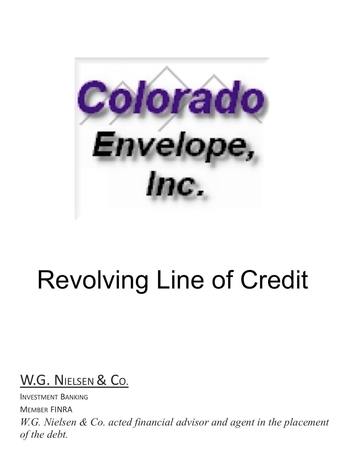 colorado envelope investment banking transaction