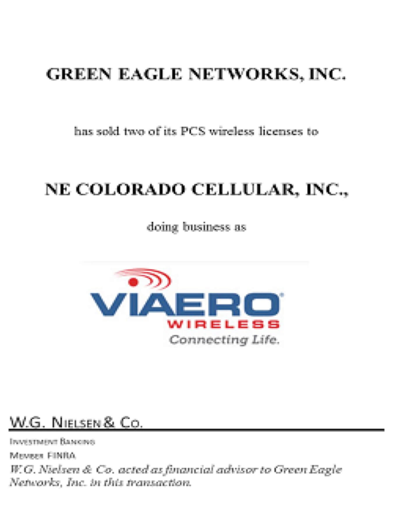 green eagle networks investment banking transaction