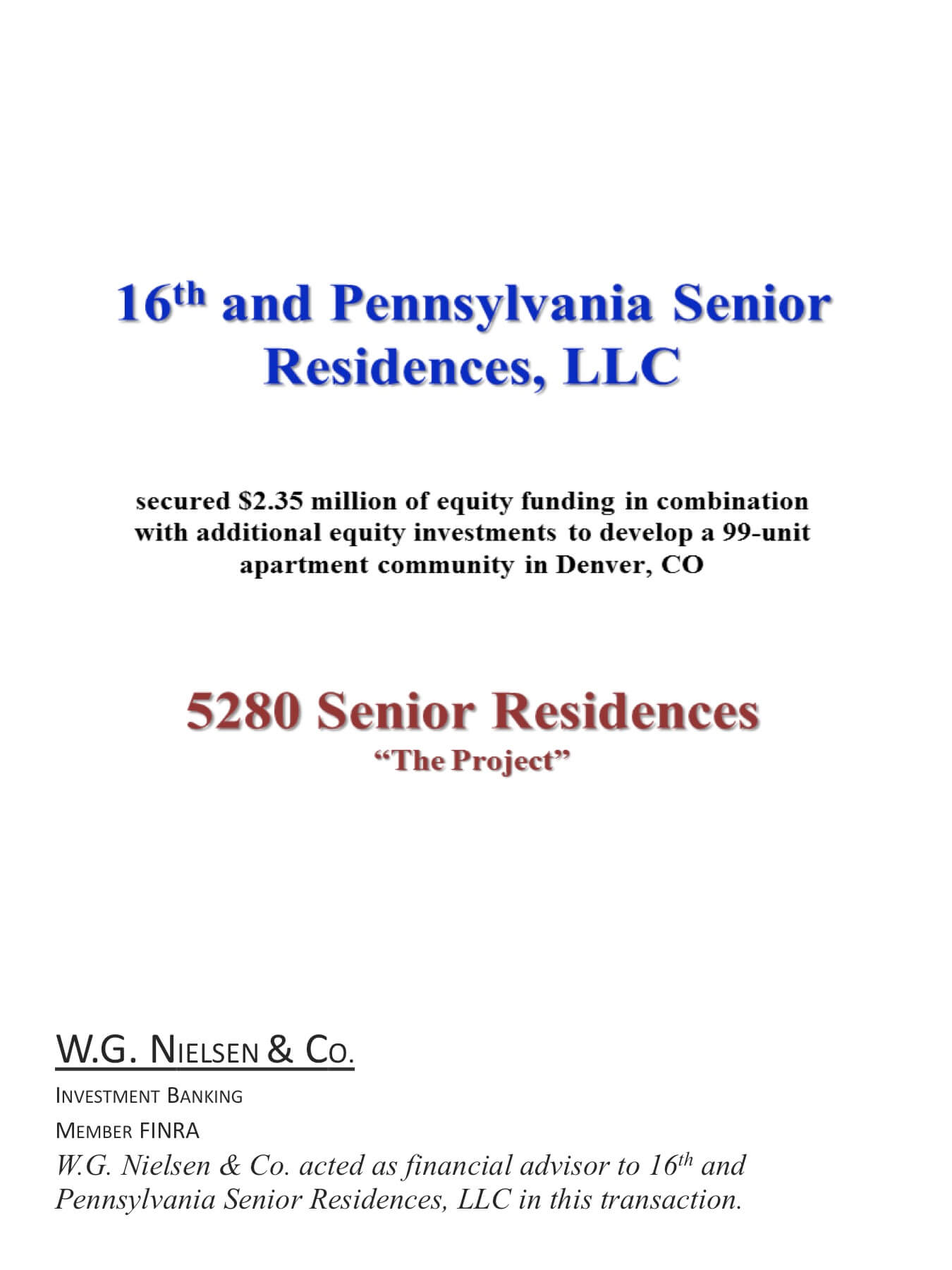 16th and pennsylvania senior residences investment banking transaction