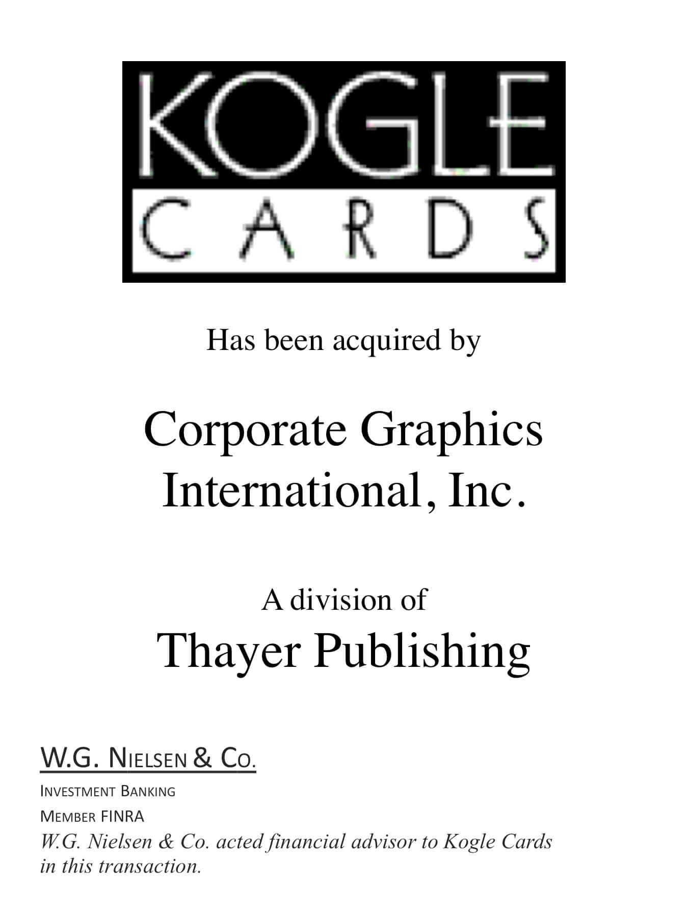 kogle cards investment banking transaction