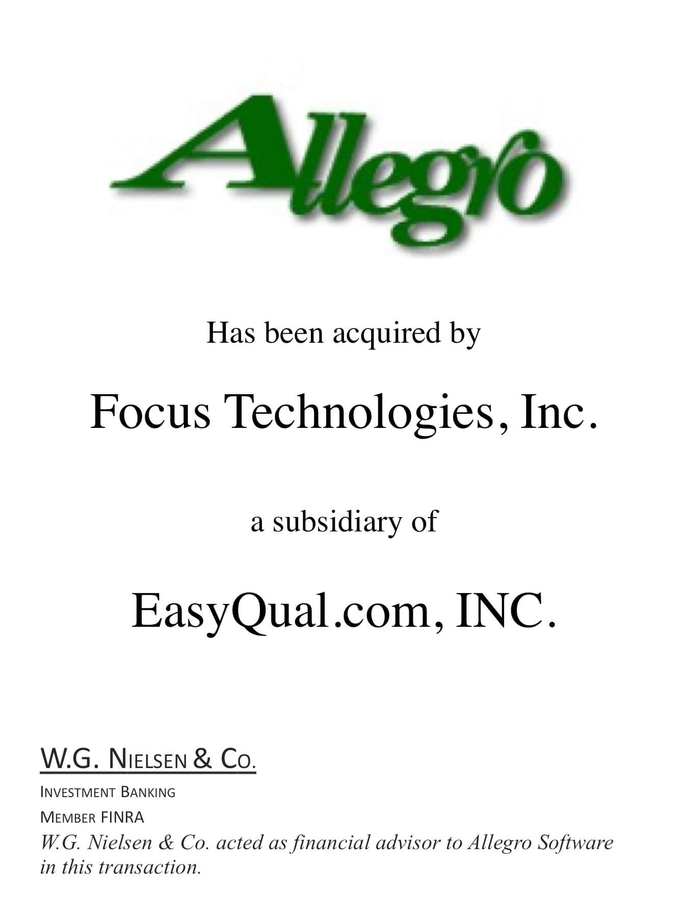 allego investment banking transaction