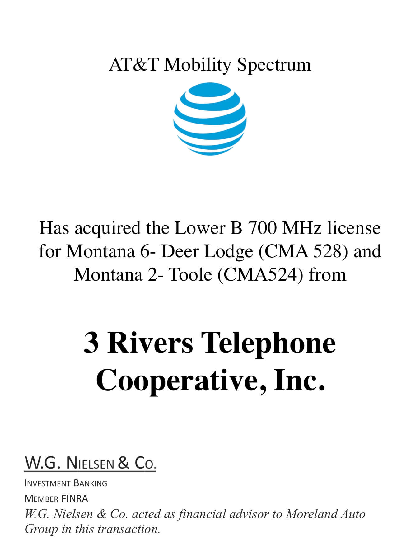at&t mobility spectrum investment banking transaction
