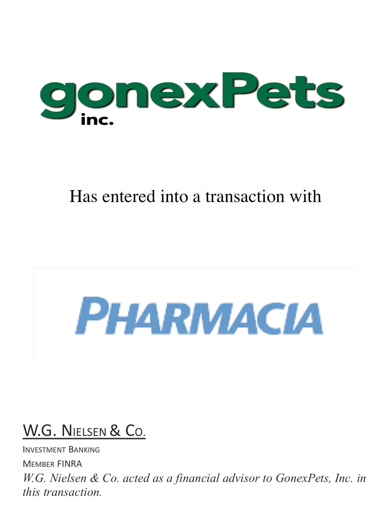 gonex pets investment banking transaction