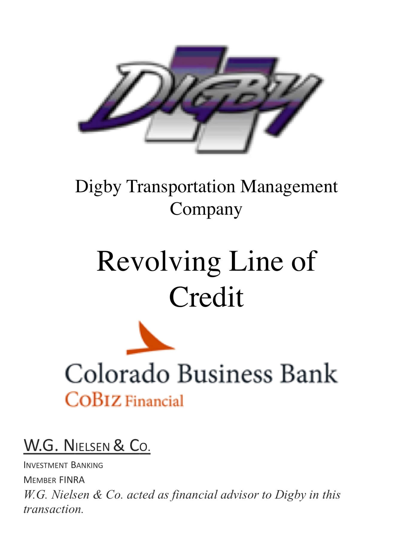 digby transportation management investment banking transaction