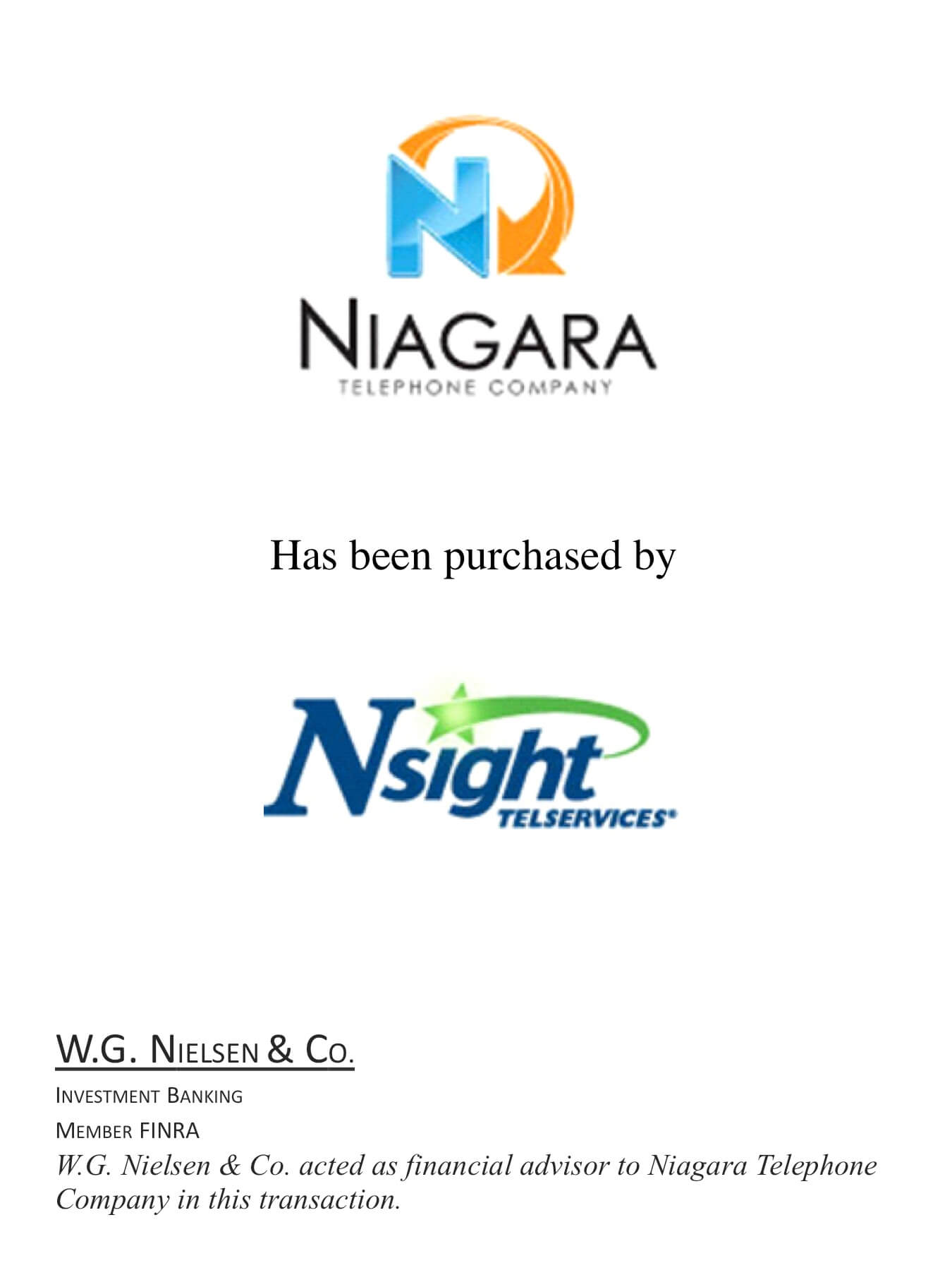 niagra telephone investment banking transaction