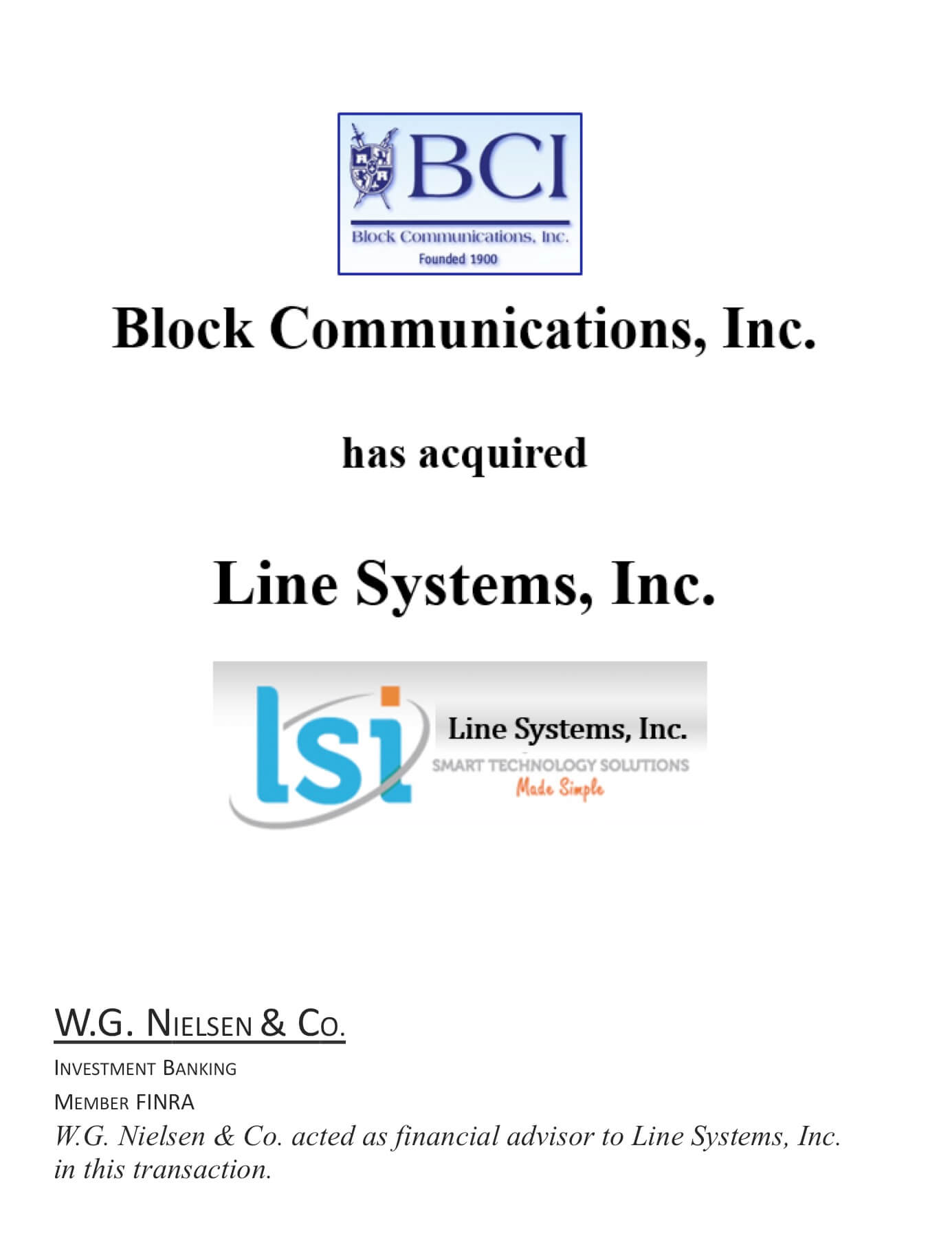 block communications investment banking transaction
