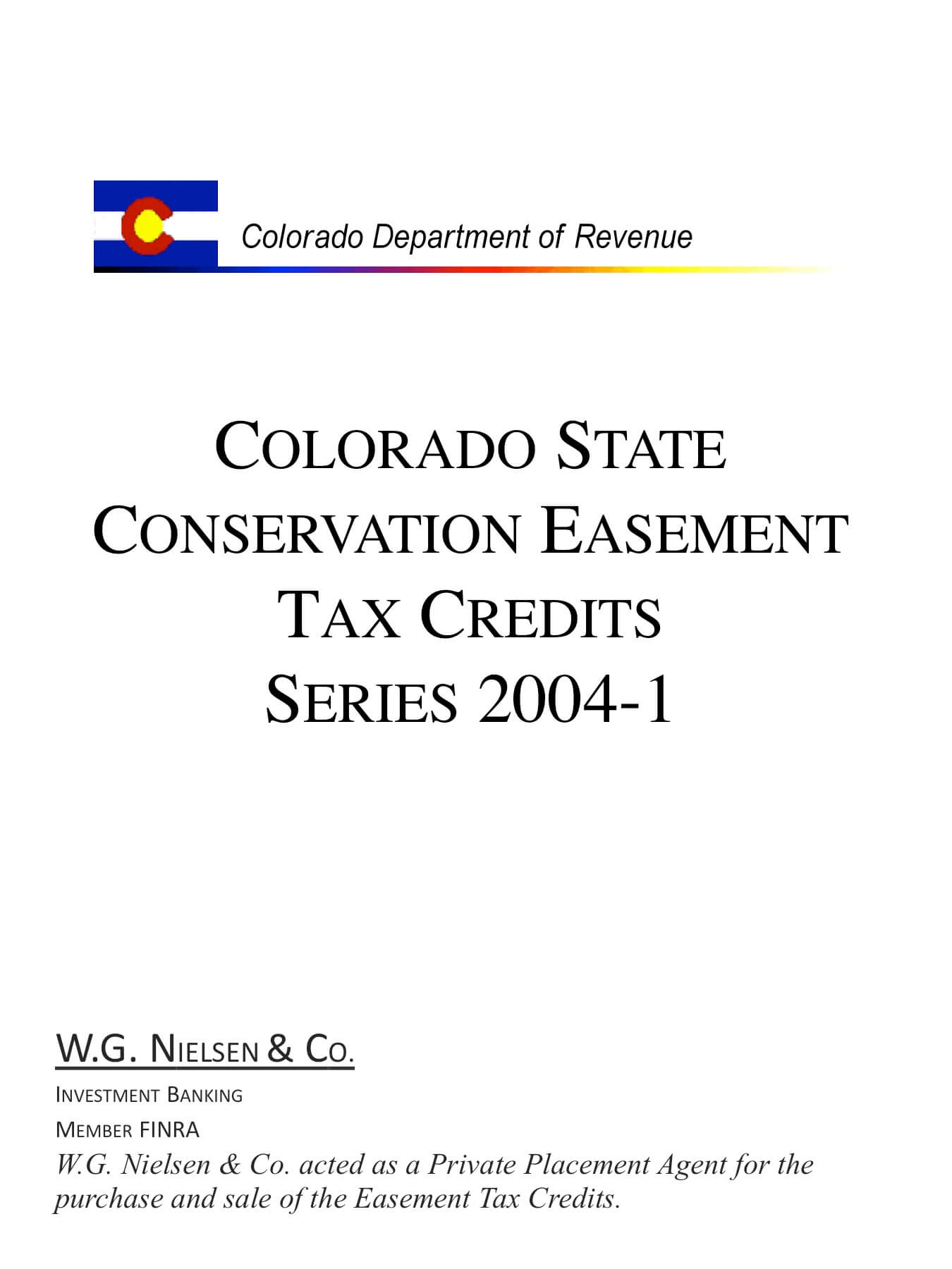 colorado department of revenue investment banking transaction