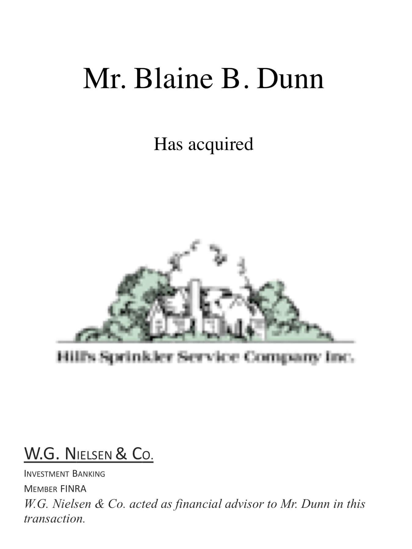 blaine b dunn investment banking transaction
