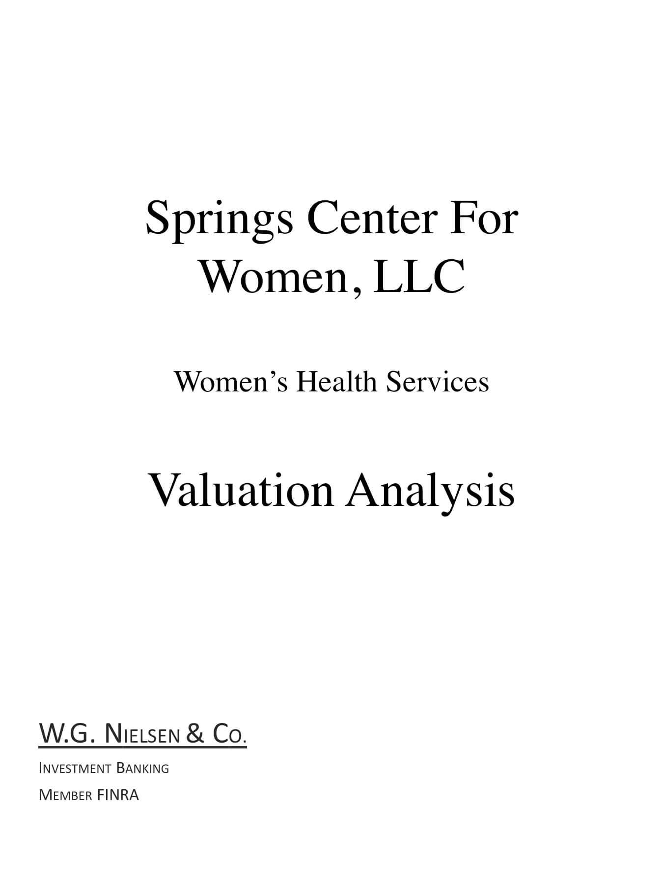 spring center for women investment banking transaction