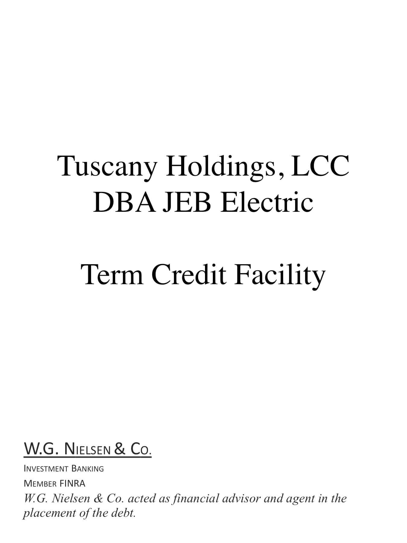 tuscany holdings investment banking transaction