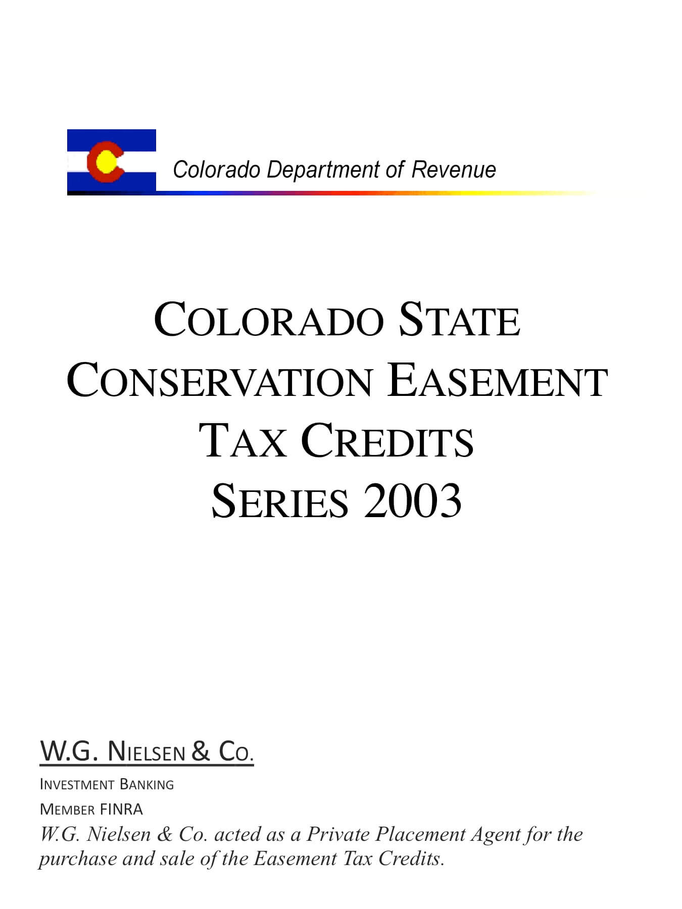 colorado department of revenue 2 investment banking transaction
