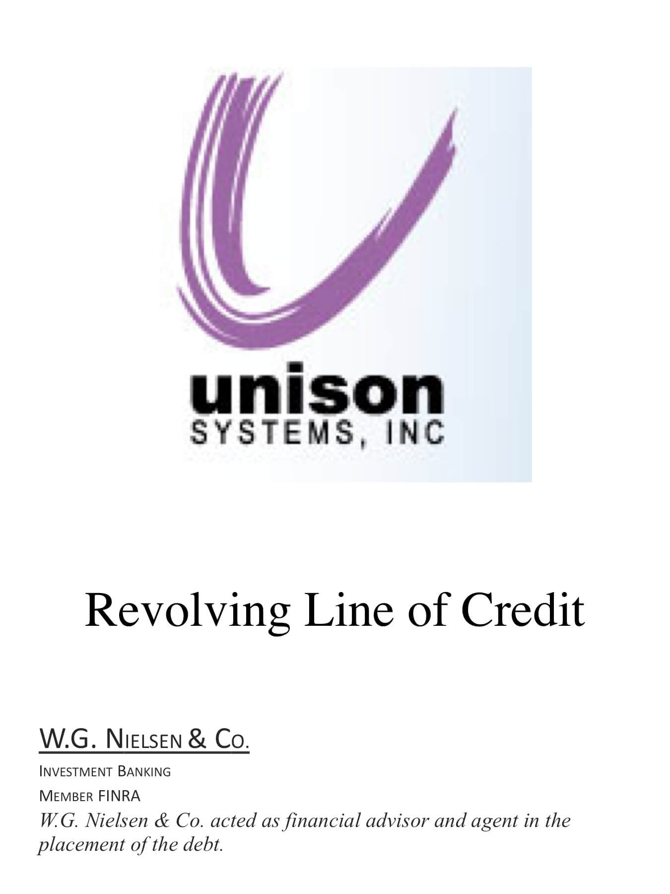 unison systems investment banking transaction