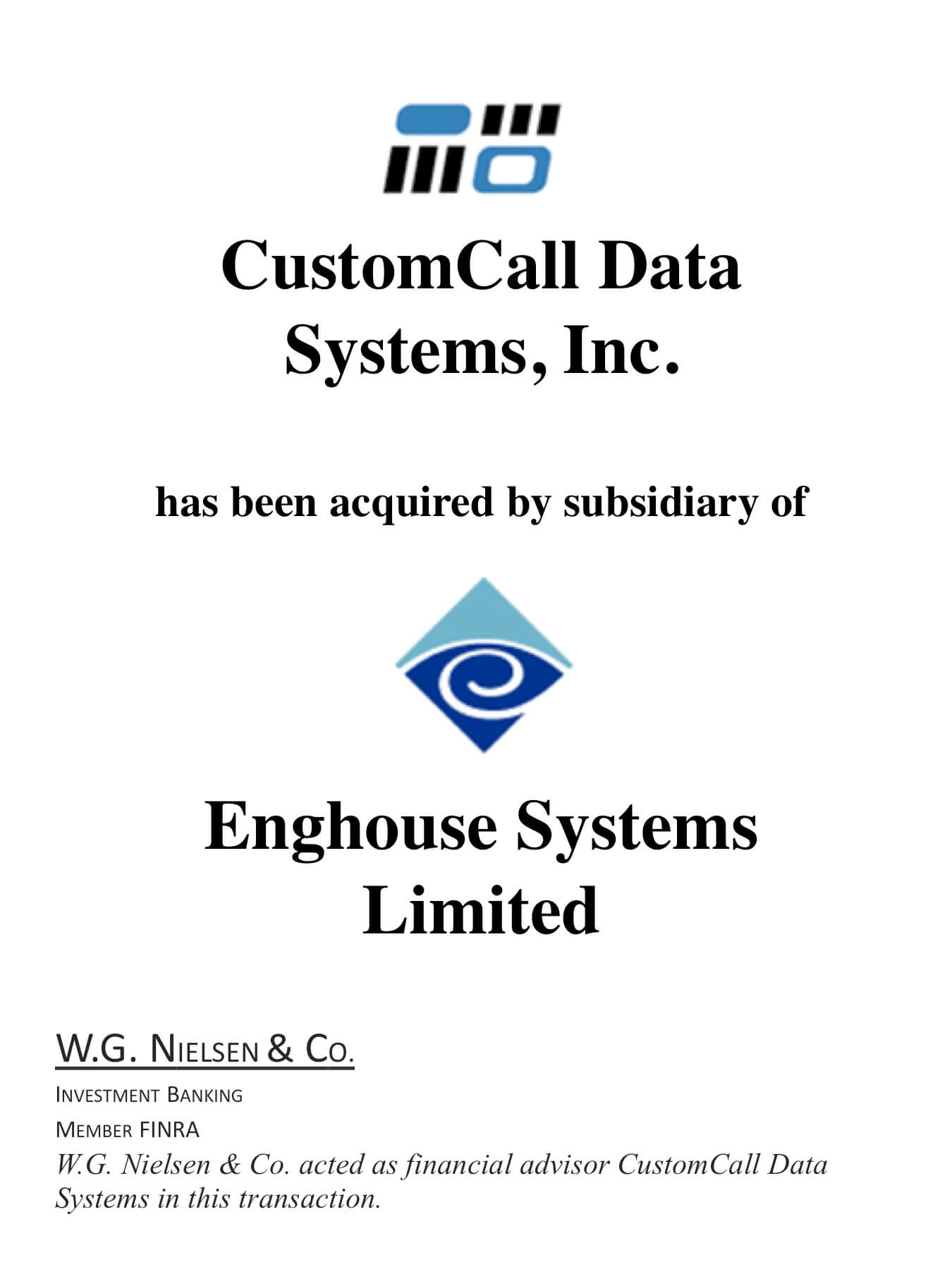 customcall data systems investment banking transaction