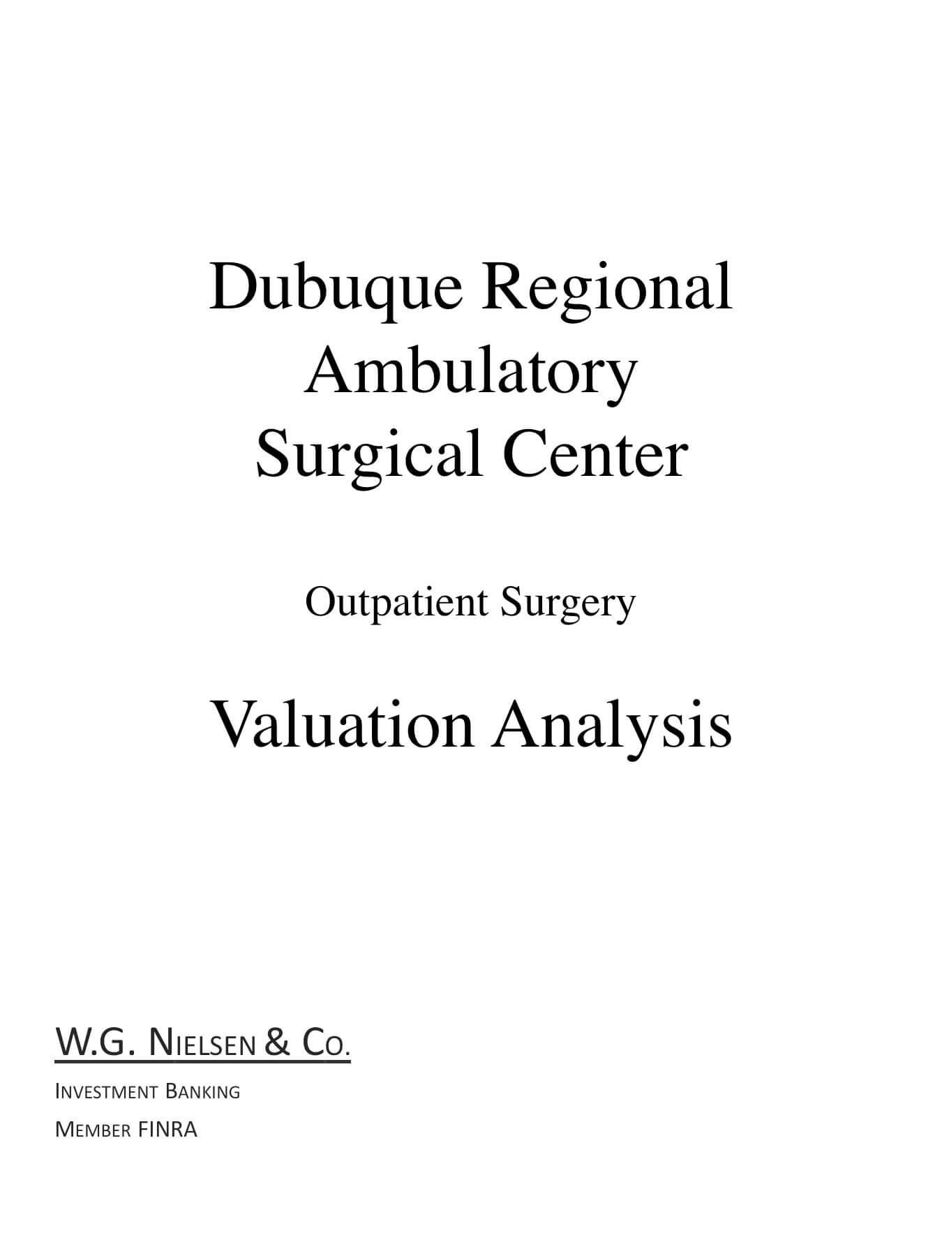 dubuque regional ambulatory surgical center investment banking transaction