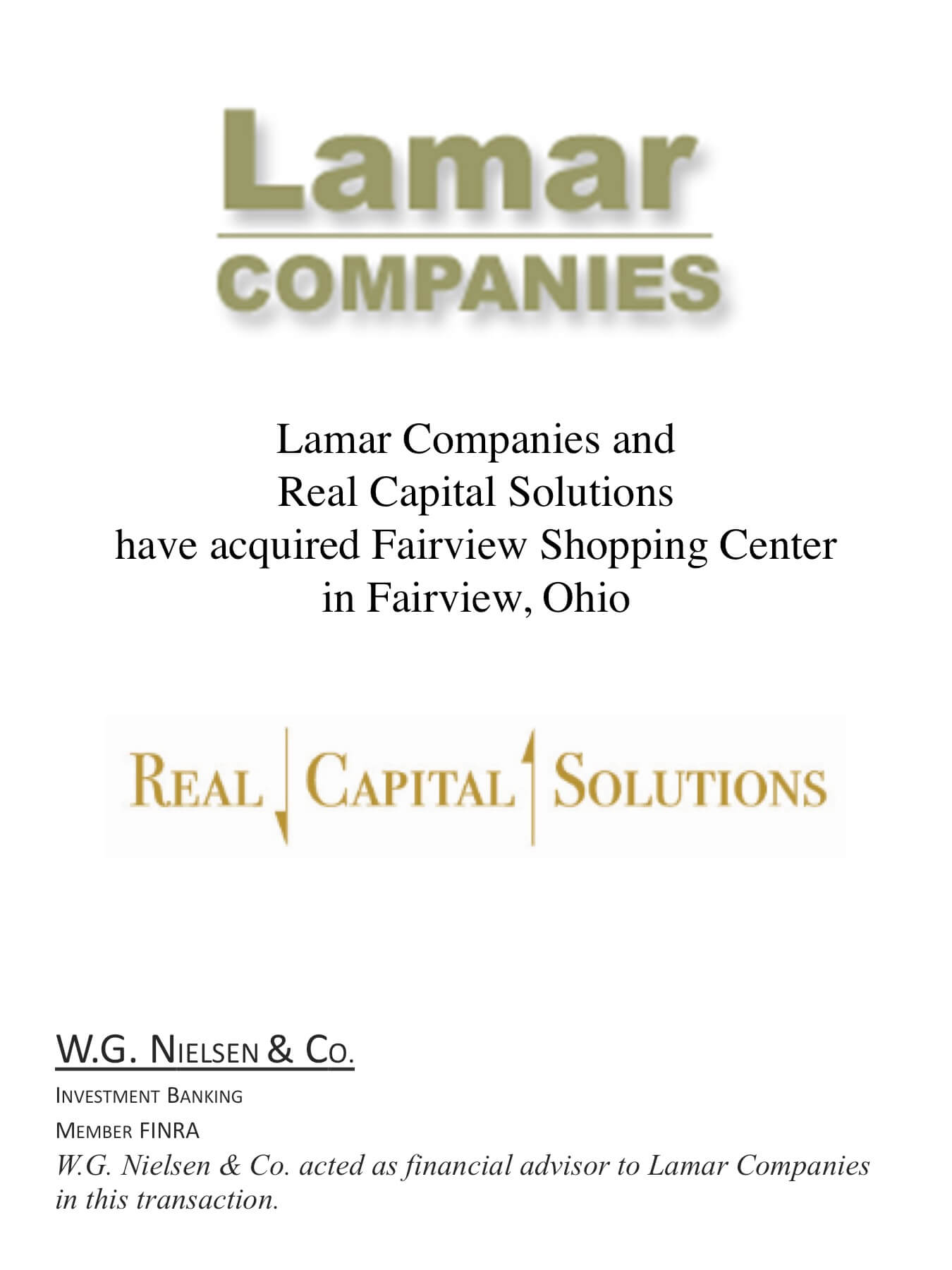 lamar companies 2 investment banking transaction