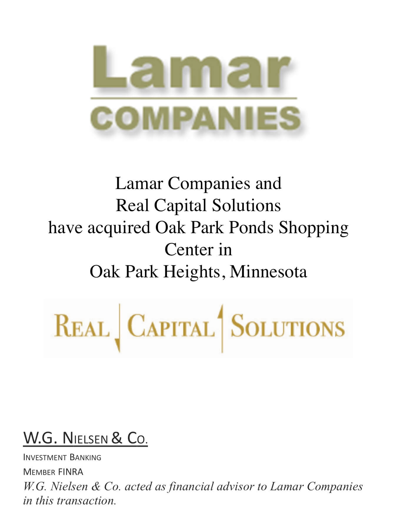 lamar companies 3 investment banking transaction