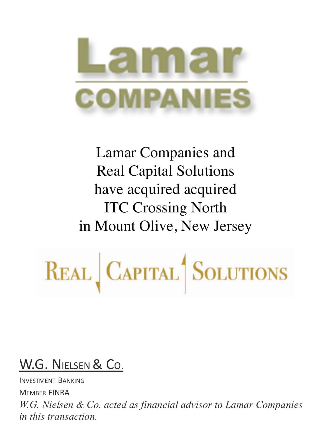 lamar companies 4 investment banking transaction