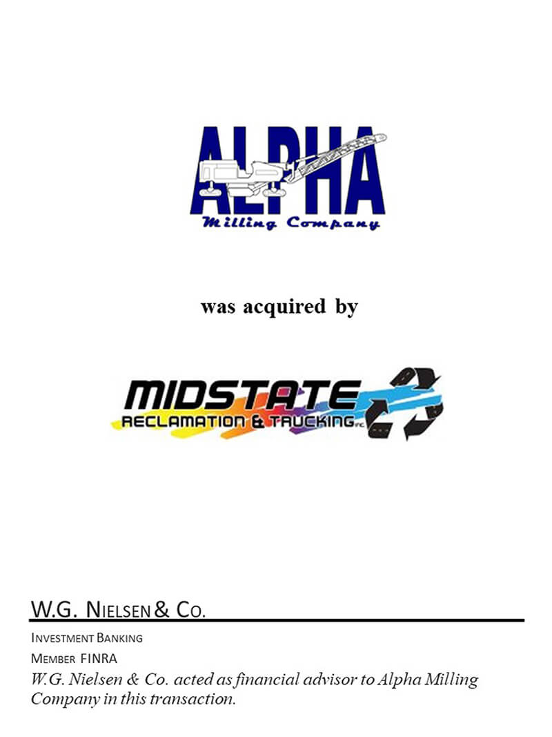 financial advisor services for alpha milling acquisition transaction