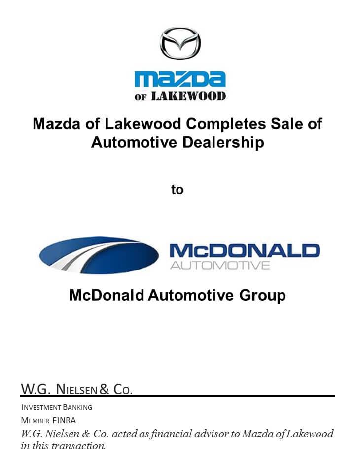 mazda-of-lakewood.jpg mazda of lakewood investment banking transaction