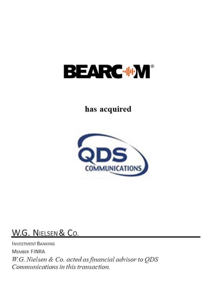 bearcom group investment banking acquisition of sqds communications