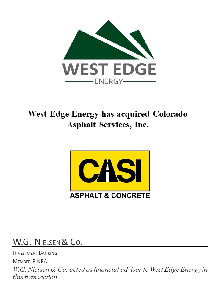 west edge energy investment banking transaction